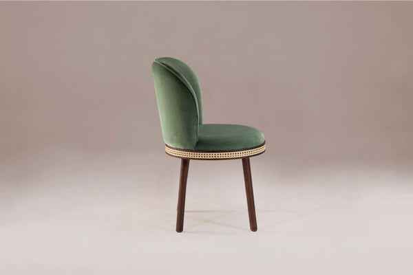 Dooq Alma Chair Green with Soft Celadon Cotton Velvet