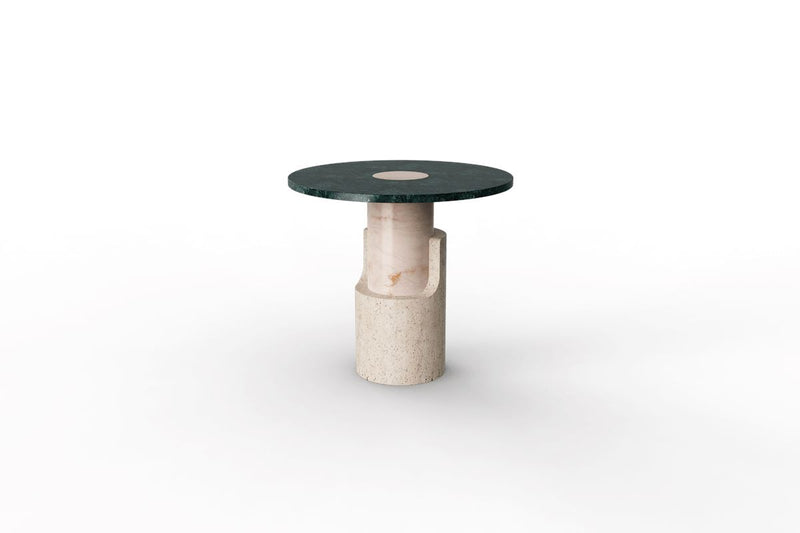Dooq Braque Green Side Table in Travertine and Marble