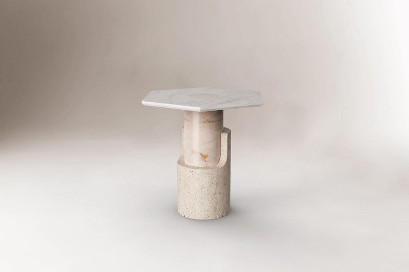 Dooq Braque White Side Table in Travertine and Marble