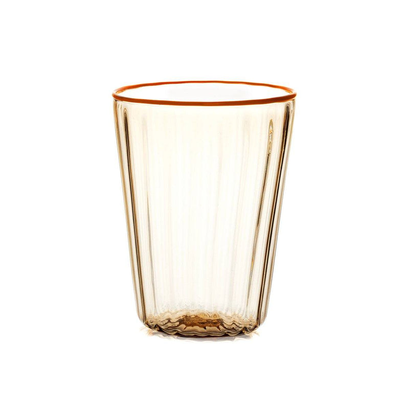 STORIES OF ITALY COSTE CORALLO ORANGE RIMMED WATER GLASS