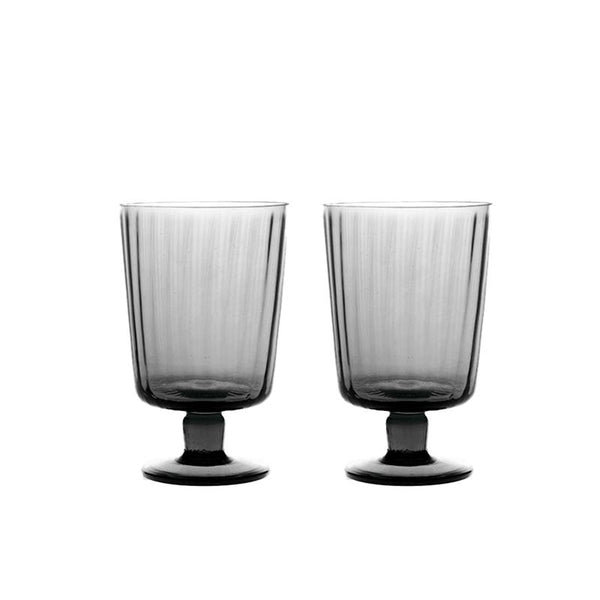 calice plisse stemmed glass piombo grey