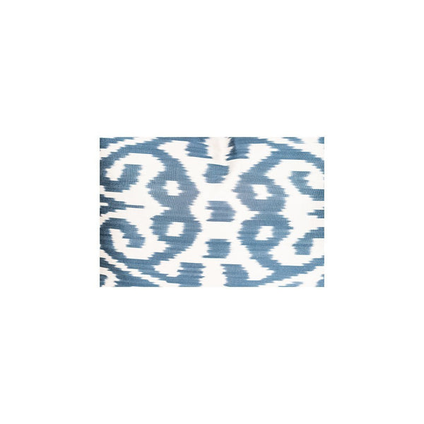 Kuhsaan Handwoven Silk Ikat Cushion Blue