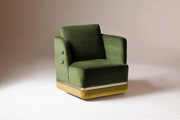 Dooq Panorama Swivel Armchair with Soft Velvet and Brass Detail