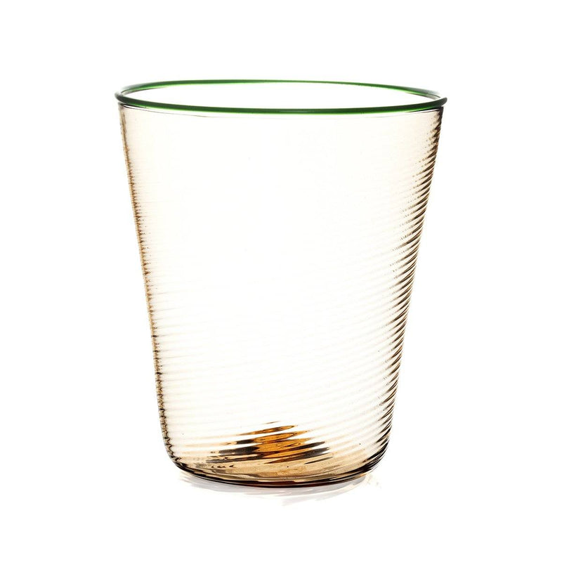 STORIES OF ITALY RIGADIN FUMÉ GREEN RIMMED WATER GLASS