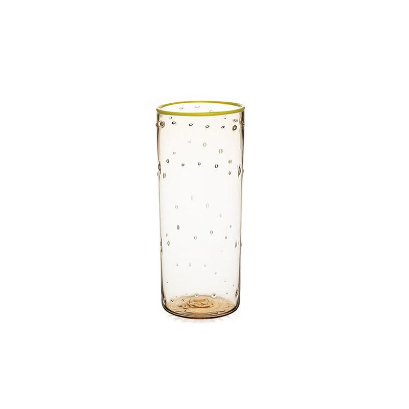 STORIES OF ITALY FUMÉ FLUTE YELLOW RIMMED WATER GLASS