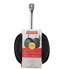 ARCOSTEEL ANODISED TWIN PACK FRYPAN & GRIDDLE