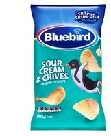 BLUEBIRD SOUR CREAM & CHIVES ORIGINAL CUT CHIPS 150G