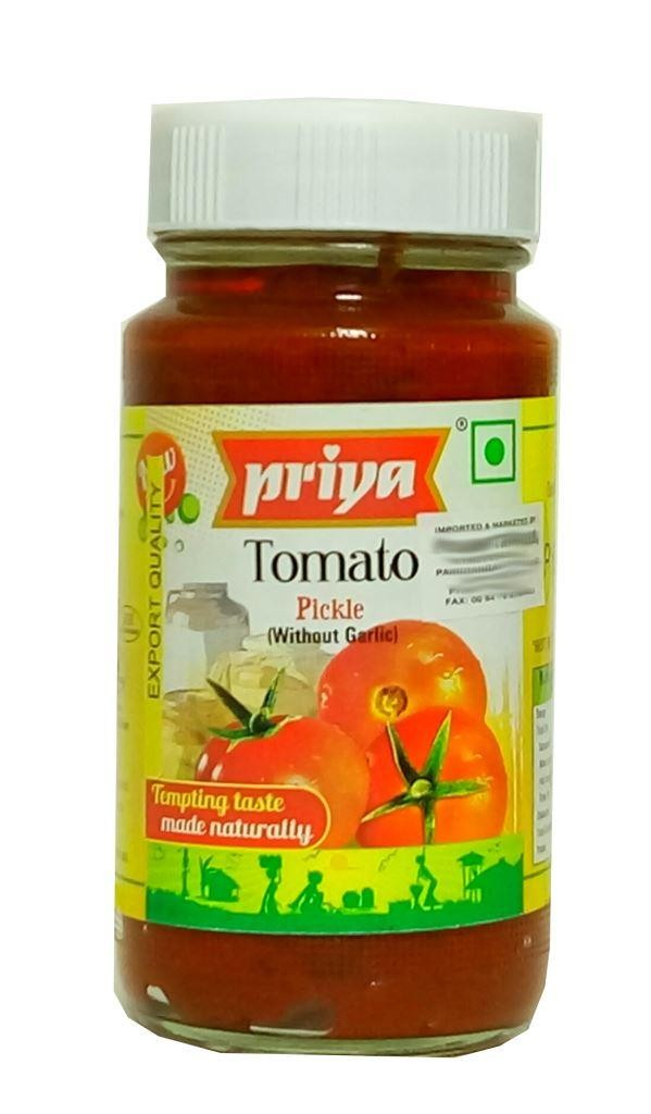 PRIYA TOMATO PICKLE (WITHOUT GARLIC) 300GM