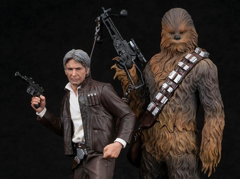 Star Wars ArtFX+ Han Solo & Chewbacca Statue Set (The Force Awakens)