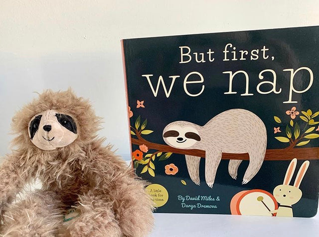 Jelly Cat bonbon sloth, First we nap book