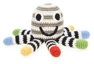 Pebble Black and White Octopus Rattle