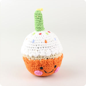 Pebble Orange Cupcake Rattle with Candle