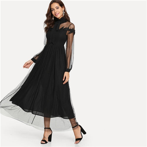 591a42800a SHEIN Black Elegant Party Tie Neck Dot Contrast Mesh Overlay High Waist  Button Trim Solid Maxi