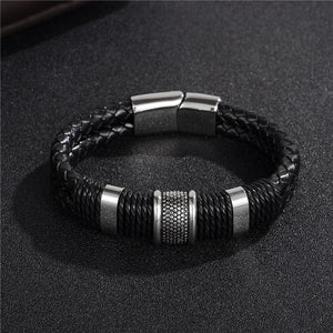 Leather & Silver Bangle