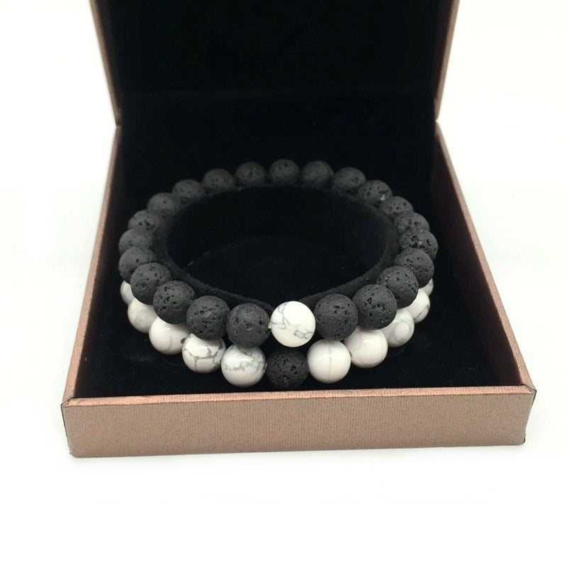 Black & White Stone Beaded Bracelet