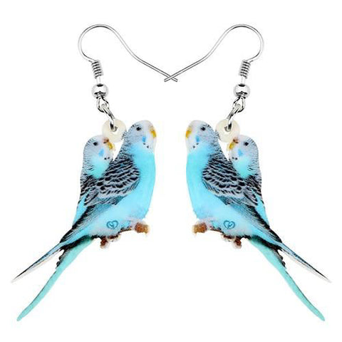 Boucle d'Oreille Perroquet Duo Perruches Bleues