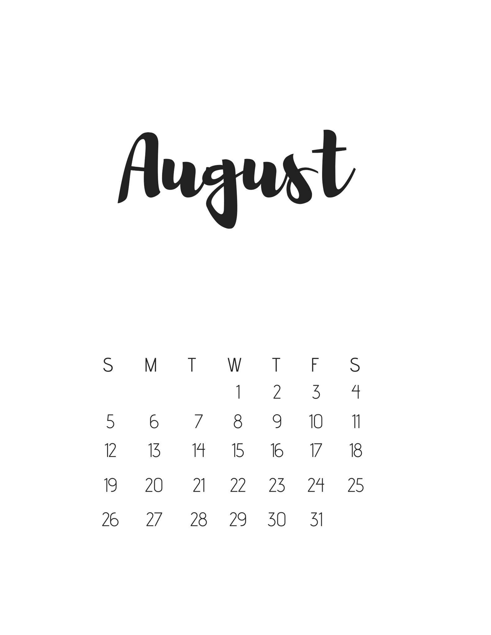 August Cover Page - Instant Download Printable FREE with Purchase