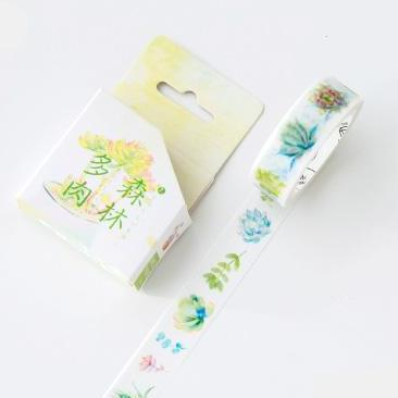 Succulents and Leaves Washi Tape