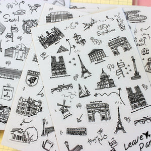 6 Sheets Vintage Black and  White World Travel Stickers