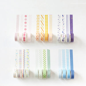 4 Piece Rainbow Patterned Washi Set