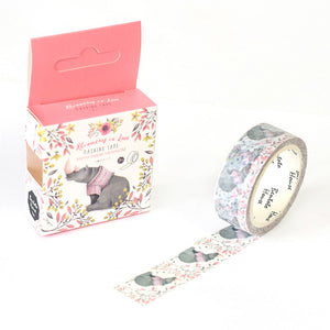 Rhinocerous in Love Washi Tape