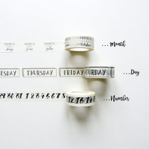 3 Piece Month, Day, and Number Washi Tape set