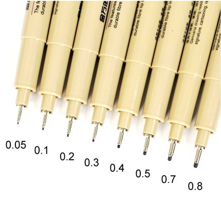 8 Piece Fine Point Drawing Pen Set- Includes 8 Different Size Tips