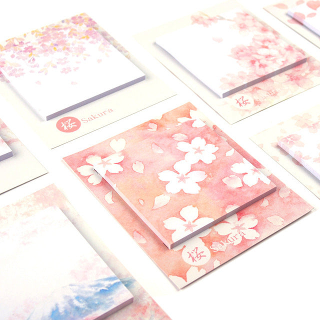 8 Piece Sakura Cherry Blossoms Sticky Notes Set