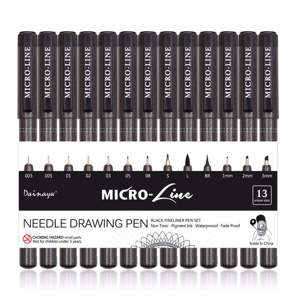 Set of 13 Micro-Line Black Drawing Pens