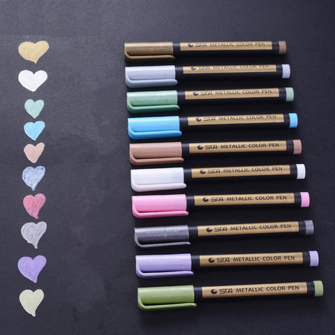 10 Color Metallic Felt Pen Set