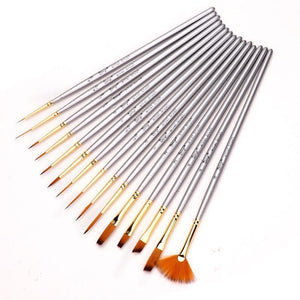15 Pieces Watercolor Brush Set - Nylon Hair