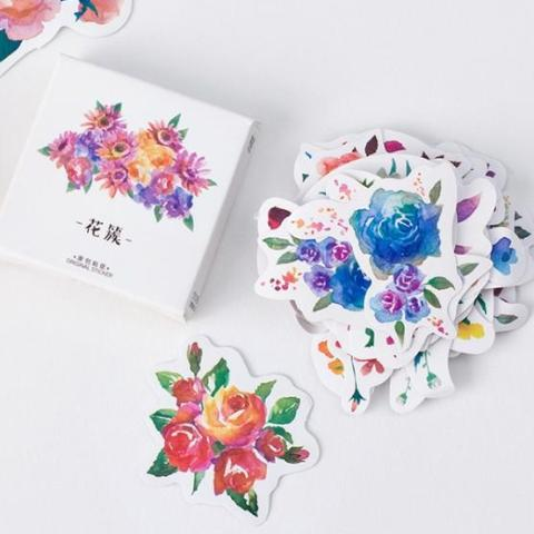 Vibrant Watercolor Flowers Stickers
