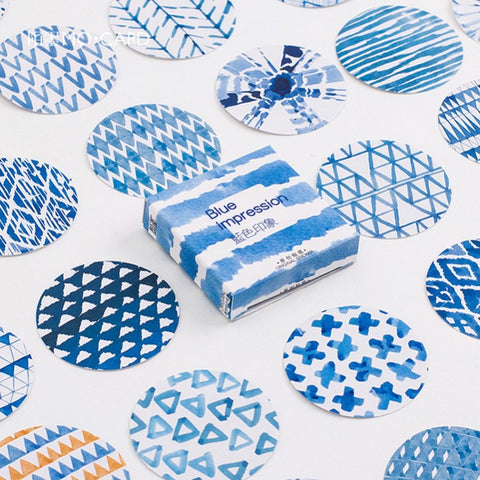 Abstract Blue Stickers Set