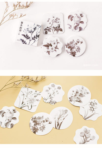 Black & White Vintage Flower Stickers