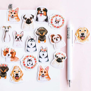 Dogs & Flowers Stickers