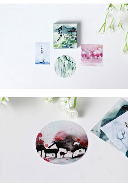 Vintage Chinese Watercolor Stickers