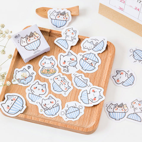 Kawaii Kitten Noodle Bowl Stickers Set