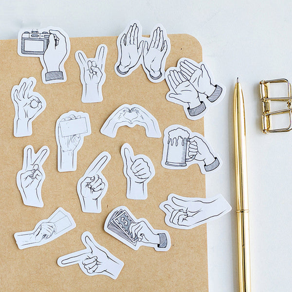 Black and White Hand Gestures Stickers - Peace sign, ok, rock on, thumbs up and more!