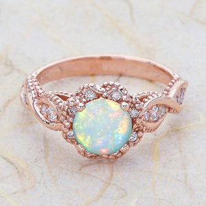 Crystal Leaf Flowers Ring - Hanna Rings