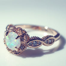 Load image into Gallery viewer, Rose Gold Rings White Fire Opal - Hanna Rings