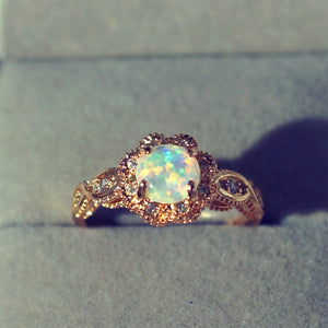 Rose Gold Rings White Fire Opal - Hanna Rings