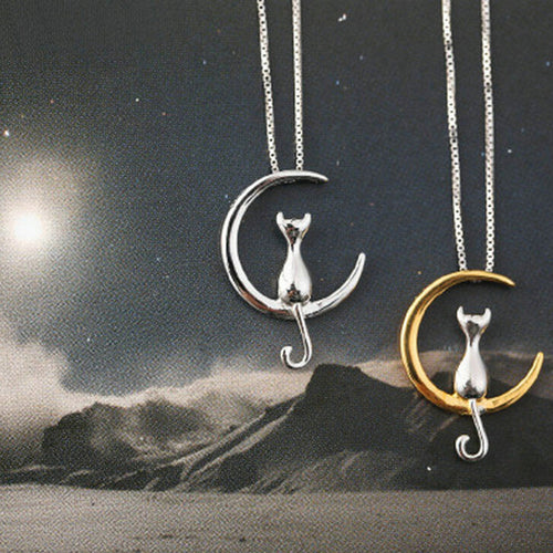 Cat Moon Silver Necklace - Hanna Rings