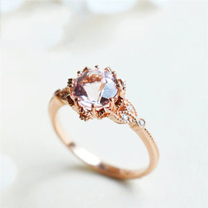 Brown Crystal Engagement Ring - Hanna Rings