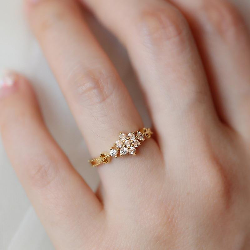 Adjustable Cute Plated Snowflake Ring - Hanna Rings
