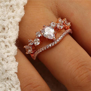 3Pcs/Set Fashion Geometry Intersect Crystal Ring - Hanna Rings