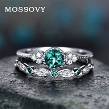 Load image into Gallery viewer, 2Pcs  Green Blue Stone Crystal Rings - Hanna Rings