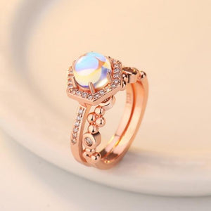 Austrian Crystal & Moonstone Ring - Hanna Rings