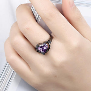 Birthstone Garnet Heart Princess Ring - Hanna Rings