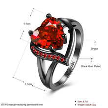 Load image into Gallery viewer, Birthstone Garnet Heart Princess Ring - Hanna Rings