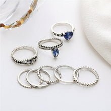 Load image into Gallery viewer, 8Pcs Vintage Heart Crystal Rings - Hanna Rings